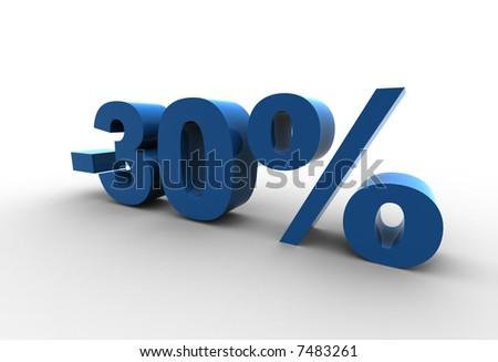 isolated 30% - 3d illustration - stock photo
