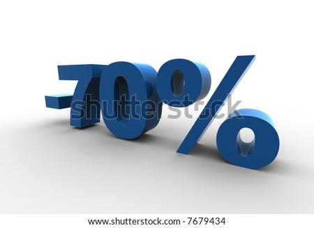 isolated -70% - 3d illustration - stock photo