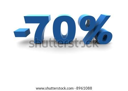 isolated 70% - 3d illustration - stock photo