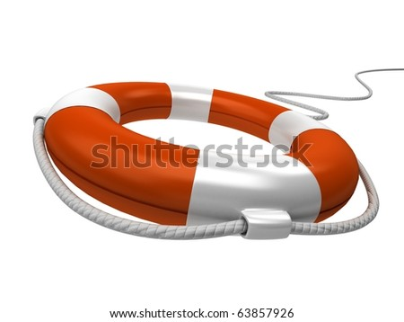 Isolated 3d life buoy with rope - stock photo