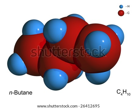 Isolated 3D model of a molecule of butane on a white background - stock photo
