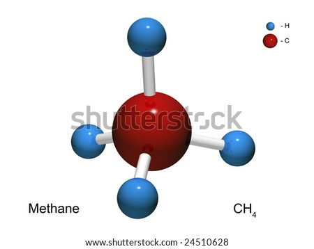 Isolated 3D model of a molecule of methane on a white background - stock photo
