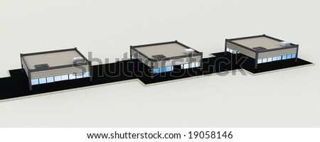 Isolated 3d office buildings, horizontal - stock photo