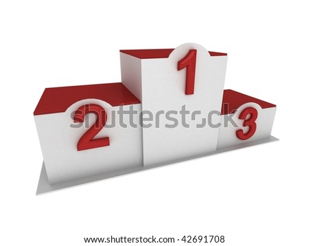 Isolated 3d red and white pedestal / podium with numbering in perspective view - stock photo
