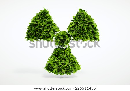 Isolated 3d render alternative ecology nuclear concept with white background - stock photo