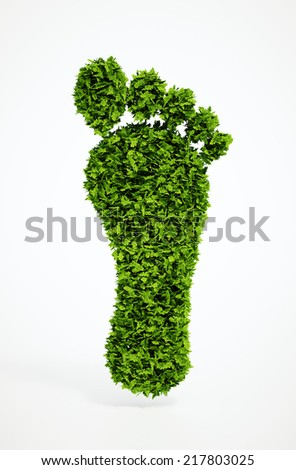 Isolated 3d render ecological footprint symbol with white background - stock photo