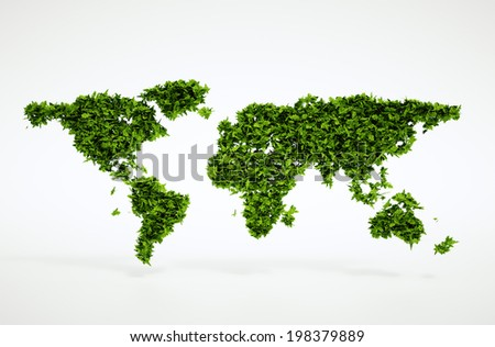 Isolated 3d render natural leaf world continents concept image with white background - stock photo