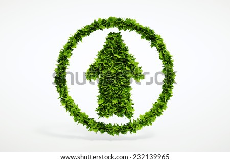 Isolated 3d render natural up arrow icon with white background.  - stock photo