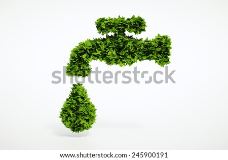 Isolated 3d render natural water symbol with white background  - stock photo