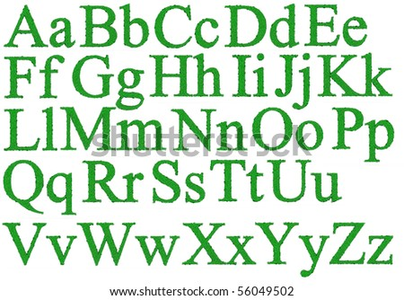 Isolated 3d render of green alphabet with dewdrops - stock photo