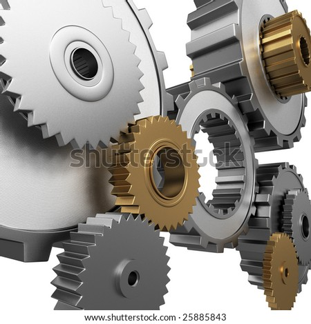 Isolated 3D render of metallic gears and pinions. - stock photo