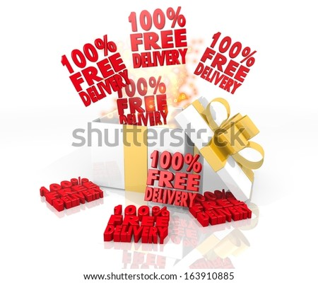 isolated 3d rendered gift on white background with glittering 100 percent free delivery symbol coming out of it