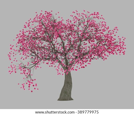 isolated 3d rendered Peach blossom tree with alpha channel