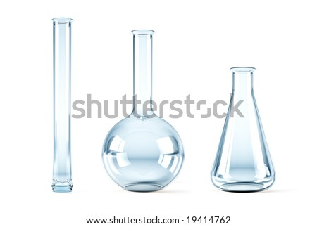 isolated 3d rendering of the empty chemical flasks - stock photo
