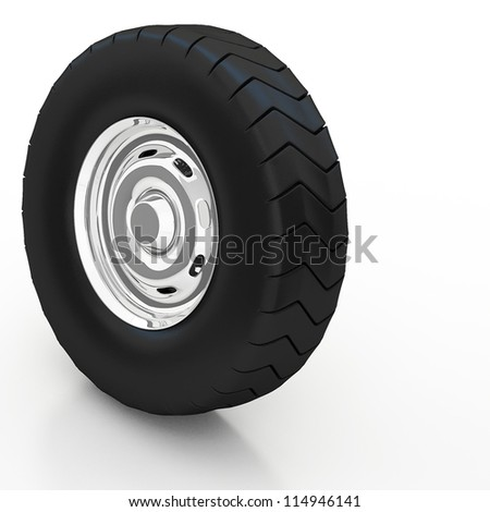 Isolated 3d tyre on white background - stock photo