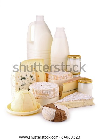 isolated dairy products on white background - stock photo