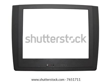 Isolated Dark Grey Television (with Clipping Paths). File contains 2 clipping paths. One for the Outline and one for the screen. - stock photo