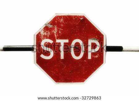isolated dark red color grunge sign STOP - stock photo