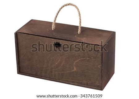 Isolated dark wood box with hole on white background