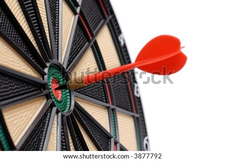 Isolated dartboard and dart