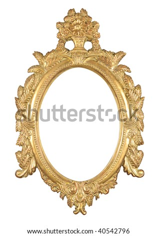isolated decorative bronze frame with clipping path - stock photo