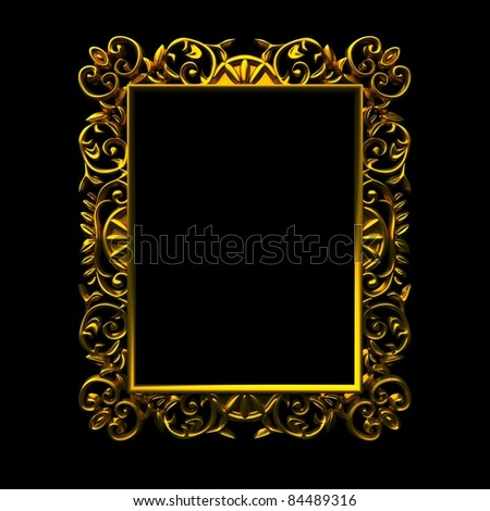 Isolated decorative frame over black background - stock photo