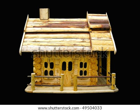 Isolated decorative wooden house - stock photo