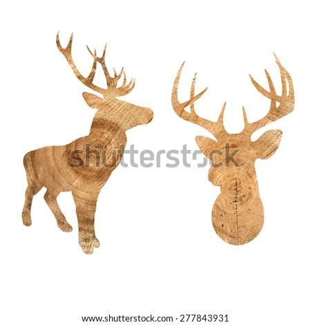 Isolated deers silhouettes with wooden pattern