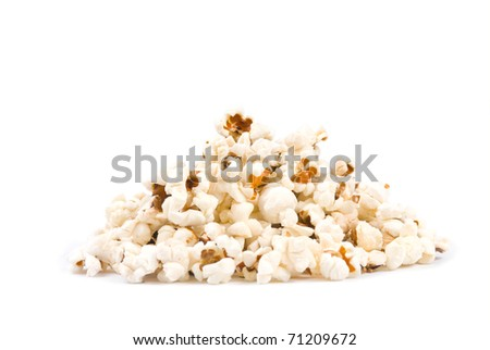 Isolated delicious pop corn on white background.