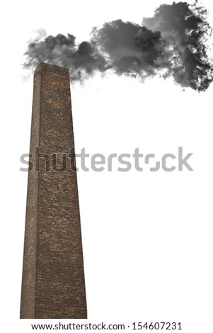 Isolated dense black smoke from a chimney  - stock photo