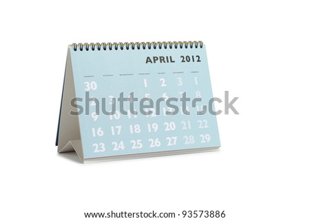 Isolated desktop calendar showing the month of April 2012 - stock photo