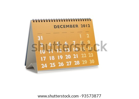 Isolated desktop calendar showing the month of December 2012 - stock photo