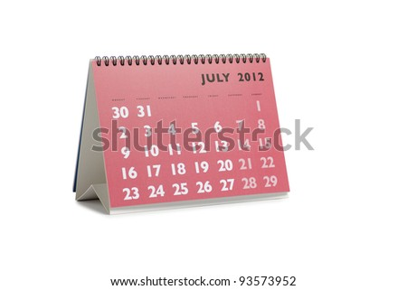 Isolated desktop calendar showing the month of July 2012 - stock photo