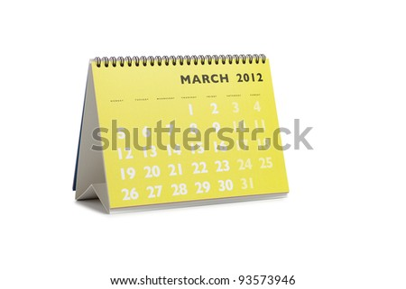 Isolated desktop calendar showing the month of March 2012 - stock photo