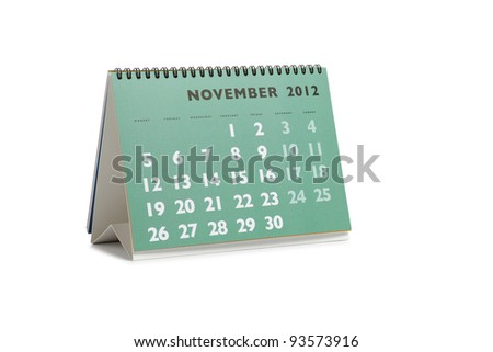 Isolated desktop calendar showing the month of November 2012 - stock photo