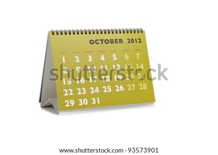 Isolated desktop calendar showing the month of October 2012 - stock photo