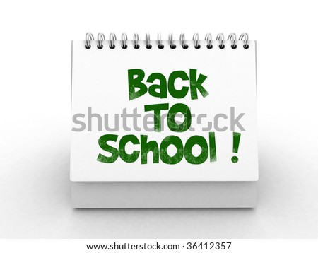 isolated desktop calender with back to school text - stock photo
