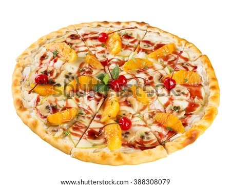 isolated dessert food the sweet pizza with orange, banana, apple and cherry - stock photo