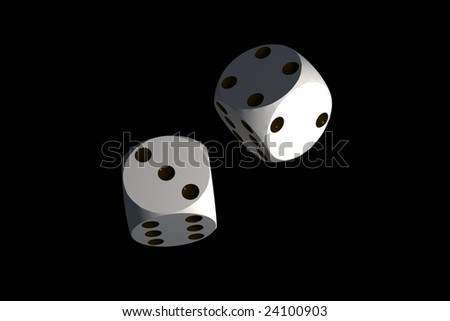 isolated dices on black background - 3d render illustration