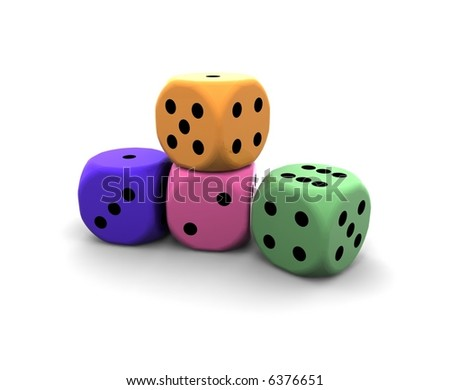 isolated dices on white background - 3d illustration