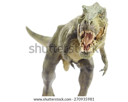Isolated dinosaur and monster model in white background