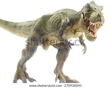 Isolated dinosaur and monster model in white background - stock photo