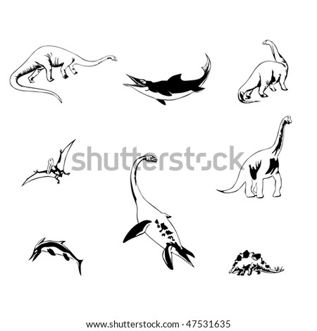 isolated dinosaurs illustration