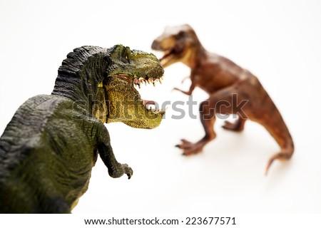Isolated Dinosaurs on white background - stock photo