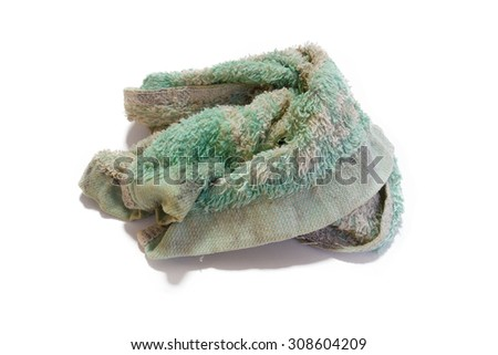 Isolated dirty towel with the white background.