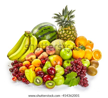 Isolated display of fresh healthy tropical fruit with bananas, watermelon, grapes, orange, kiwi, peaches, apricot, cherry, pineapple and apples on a white background - stock photo