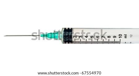 Isolated disposable syringe on a white background - stock photo