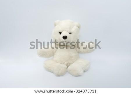 isolated doll polar bear - stock photo