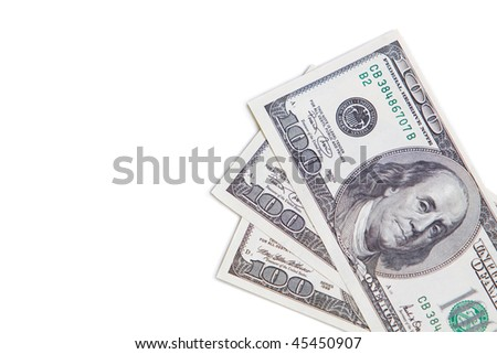 Isolated dollars currency in down right angle - stock photo