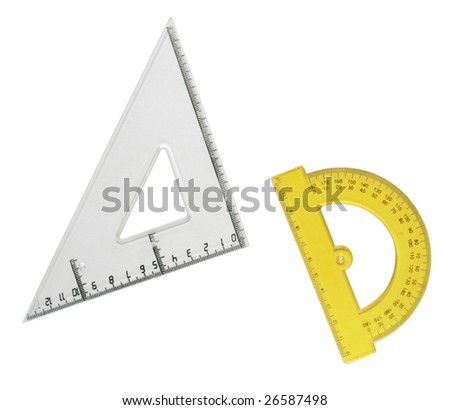 Isolated Drafting Measurement Tools on a white background - stock photo